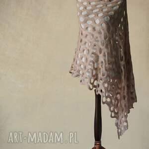 beŻowy aŻurowy szal - szal, handmade, knitwearfactory, ażurowy, summit