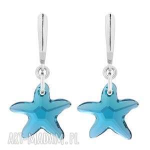 srebrne kolczyki z rozgwiazdami swarovski® crystal - rozgwiazdy, turkusowe