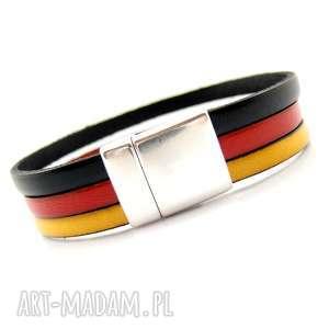 ręcznie robione bransoletka skórzana barwy narodowe niemcy