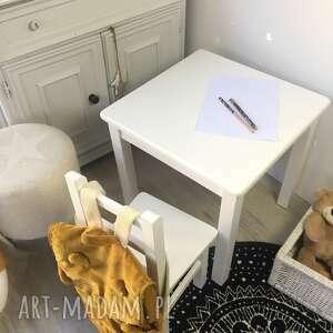 stolik i dwa krzesełka, meble dziecięce, krzesełko, białe meble
