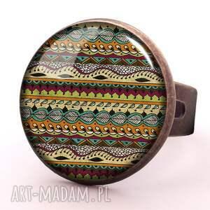 aztecki pierścionek regulowany egginegg, azteckie, prezent, paski