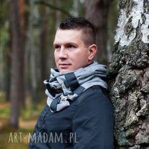 handmade szaliki szal dresowy ze skórą - szary modny komin, szalik, tuba
