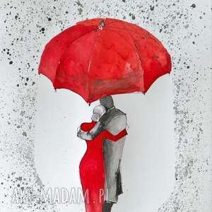 POD PARASOLEM 2 akwarela artystki plastyka Adriany Laube, akwarela, parasol, deszcz