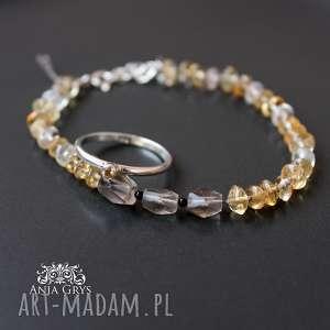 Cytryn, jedwab i srebro- zestaw idealny, cytryn, kwarcdymny, srebrny, pierścionek