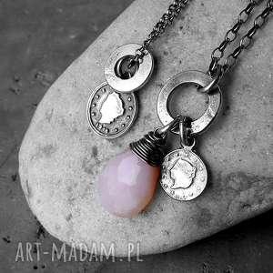 2 naszyjniki srebrne- z zawieszkami i opalem - z-zawieszkami, z-kółeczkami