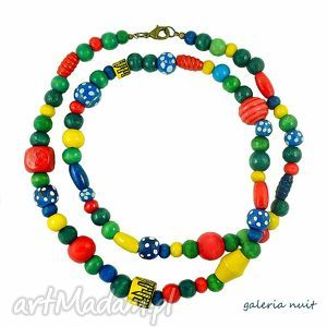 dream colors - kolorowe korale - malowane, kropki, kropeczki, domki, budynki, multikolor