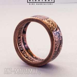 ręcznie wykonane obrączki saint gaudens double eagle - pierścionek zaręczynowy oksydowana miedź