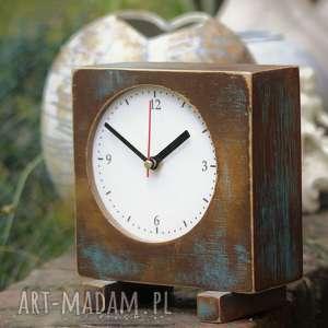 zegar drewniany sixty stojący, drewno, malowany, vitage styl, zegarek, prezent