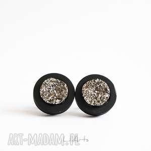 kolczyki drewniane - druzy srebrne sztyfty, czarne, kolczyki, sztyfty