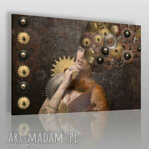 obraz na płótnie - kobiet mechanizm 120x80 cm 27801 , kobieta, portret
