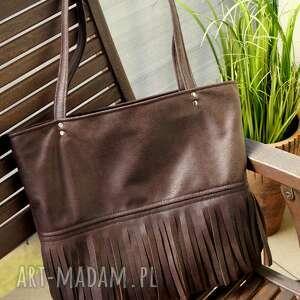 torba / worek na ramię, torebka, z frędzlami, modna, eko, ponadczasowa