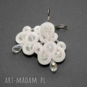 białe kolczyki / klipsy sutasz - ślubne, sznurek, ślub, eleganckie, wiszące