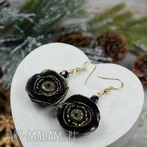 wyjątkowy prezent, czarne kolczyki kwiaty, kolczyki, wieczorowe