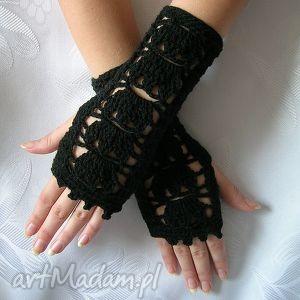 hand-made rękawiczki czarne ażurowe rękawiczki - mitenki
