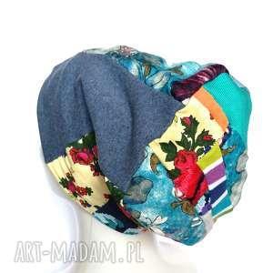 czapka patchworkowa damska uniwersalna , czapka, etno, folk, damska, kwiatowa,