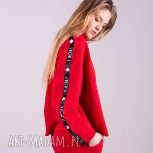 bluzka sportowa z lampasem monica-czerwona, bluzki, spodnie, kurtki, bluzy, t