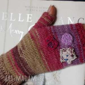 rękawiczki mitenki folkowe, druty, akryl, zarękawki, fiolet