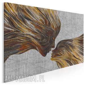 obraz na płótnie - twarze pocałunek brązowy 120x80 cm (13503)