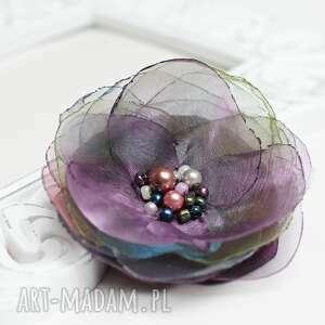 broszki delikatna broszka z organzy, przypinka, broszka, kwiatek