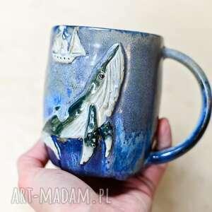 kubki kubek duży kamionkowy - z wielorybem - ocean 550 ml, ceramika na prezent