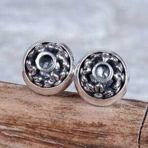 sztyfty srebrne zdobione a331, kolczyki, orygninalne, srebrne, kobiece, delikatne