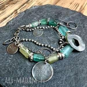 bransoletka srebrna ze szkłem afgańskim, szkło afgańskie, rzymskie