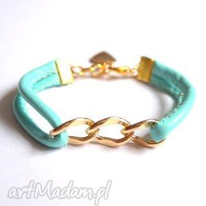 bransoleta mint gold chain, łańcuszek, łańcuch, rzemień, szyty