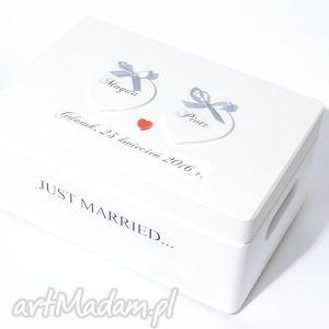 ślubne pudełko na koperty kopertówka personalizowane just married, pudełkanażyczenia