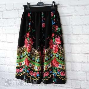 Folky folky • czarna spódnica folk z kontrafałdami midi