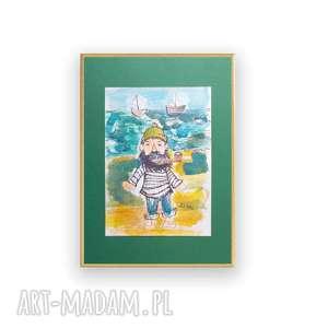 oprawiony rysunek z marynarzem, żeglarska grafika, akwarela malowana ręcznie, obrazek