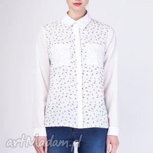 bluzki zwiewna koszula, k103 ecru piórka, klasyczna, wyjściowa, elegancka, lekka