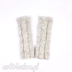 ręcznie zrobione rękawiczki mitenki ecru z warkoczem