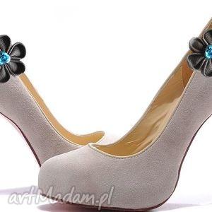 ozdoby do butów gray flower klipsy butów, kanzashi, klipsy, kwiaty, broszki