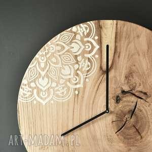 Zegar LOFT - dębowy duży z motywem 43cm, debowy, boho, drewno, motyw, loft, naturalny