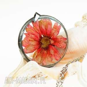 naszyjnik z prawdziwym kwiatem z1108 - naszyjnik z kwiatem, biżuteria z żywicy, z