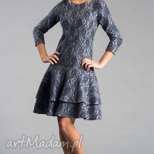 sukienka lady midi tamara, midi, koronka, szara, galbanka, granat, milutka sukienki