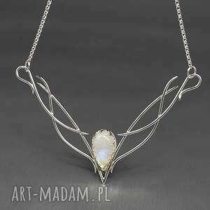 naszyjniki eadwine elficki naszyjnik z kamieniem księżycowym, srebrny