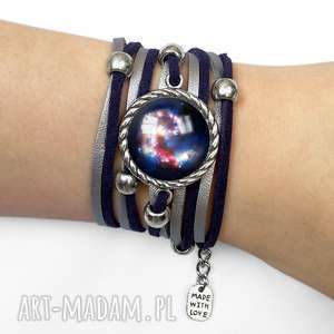 egginegg bransoletka nebula - zawijana, zamszowa, galaxy, kosmos