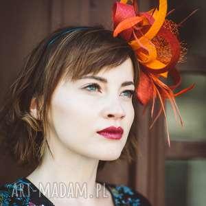 ozdoby do włosów czerwona awangarda, fascynator, czerwony, pomarańczowy