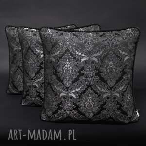 ręcznie zrobione poduszki komplet 3 poduszek czerń i szary ze sznurem 45x45cm