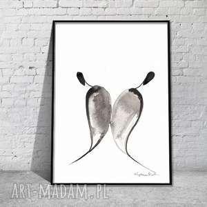 grafika abstrakcyjna, obraz romatyczny, minimalizm,grafika czarno-biała