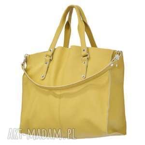 na ramię 44-0031 żółta torebka skórzana z paskiem i kontrastowymi przeszyciami