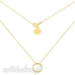 złoty naszyjnik z przestrzenną karmą, złoty, naszyjnik, karma, łańcuszek, modowy