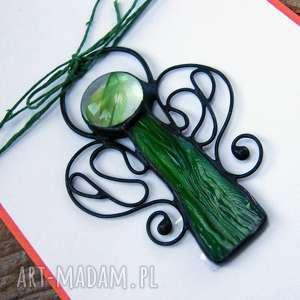 kartki kartka na życzenia z zielonym aniołkiem, zawieszka aniołek