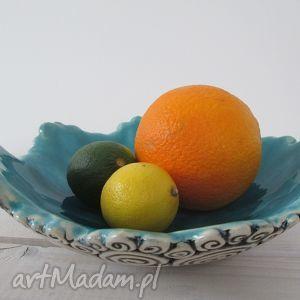 ceramika ślimakowa z turkusem, ceramiczna, miska, turkusowa dom