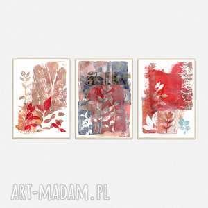 ręcznie wykonane grafiki a4 abstrakcja - zestaw, grafika, obraz, malarstwo, liście