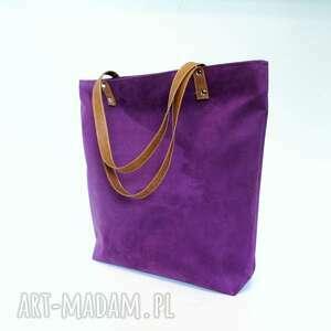 Shopper bag, torba, fioletowa, szyta, modna, musthave