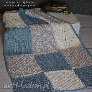 the wool art dziecięcy kocyk, pled, koc, na drutach, ciepły, dom