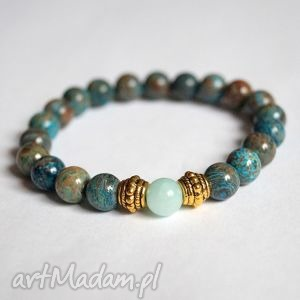 bransoleta african turquoise mint jade, turkus, afrykański, jadeit, boho biżuteria