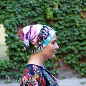 czapka damska patchworkowa kolorowa, patchwork, boho, czapka, etno, orient